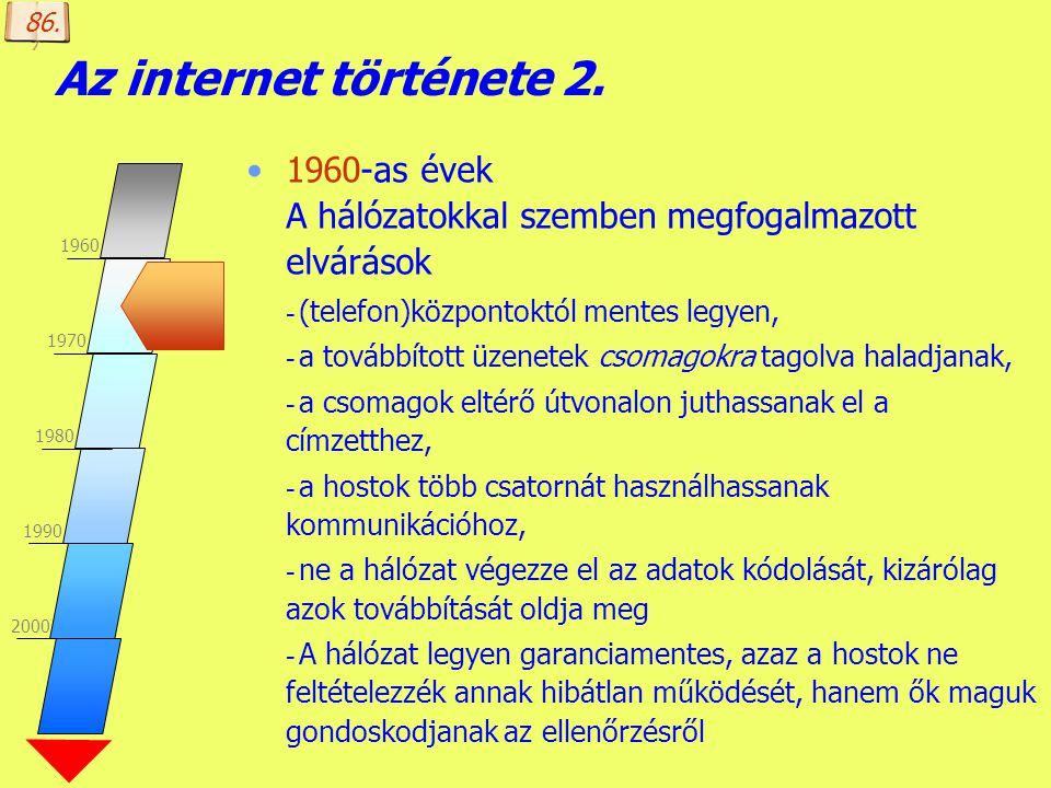 86. Az internet története 2. 1960-as évek A hálózatokkal szemben megfogalmazott elvárások. (telefon)központoktól mentes legyen,