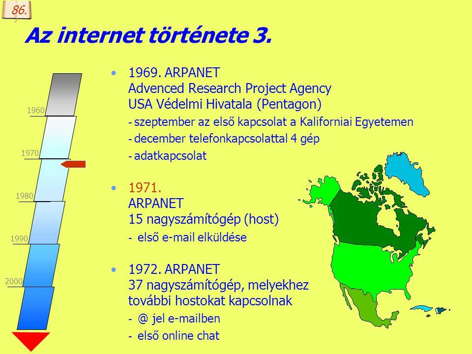 86. Az internet története 3. 1969. ARPANET Advenced Research Project Agency USA Védelmi Hivatala (Pentagon)