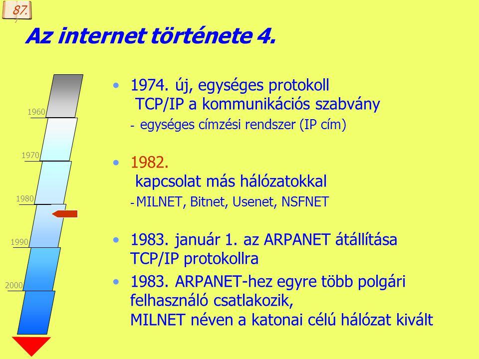 87. Az internet története 4. 1960. 1970. 1980. 1990. 2000. 1974. új, egységes protokoll TCP/IP a kommunikációs szabvány.