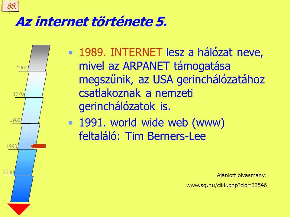 88. Az internet története 5. 1960. 1970. 1980. 1990. 2000.