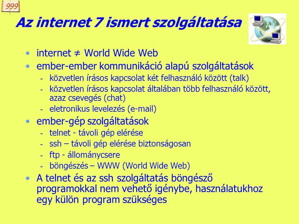 Az internet 7 ismert szolgáltatása