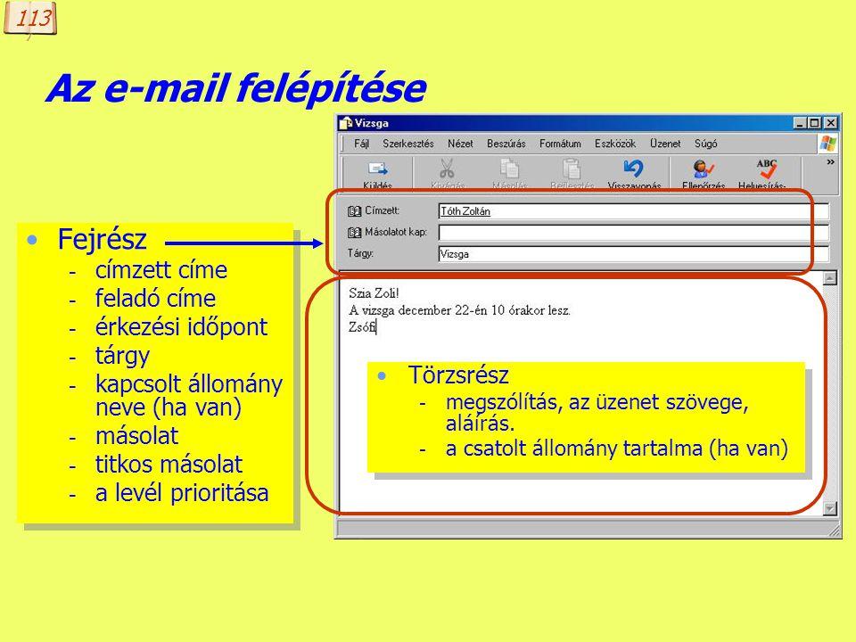 Az e-mail felépítése Fejrész címzett címe feladó címe érkezési időpont