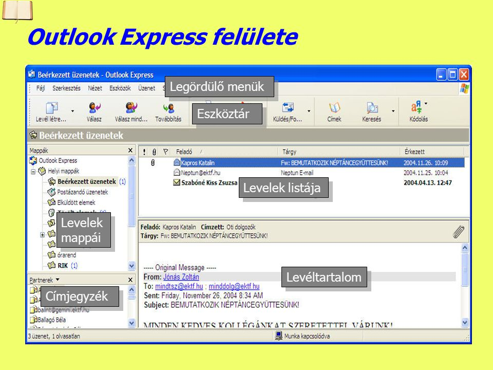 Outlook Express felülete
