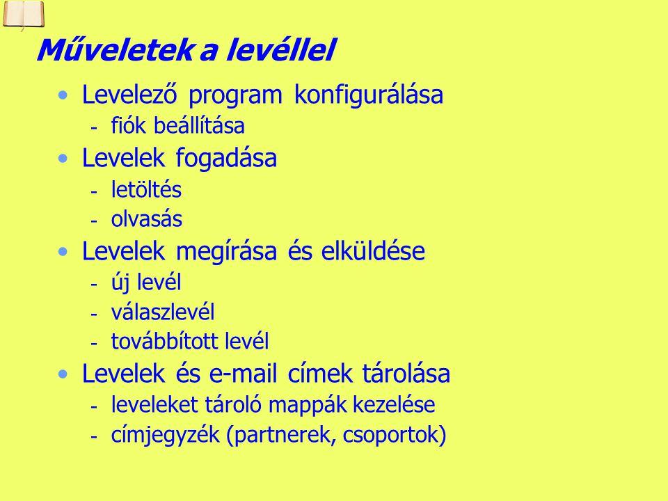 Műveletek a levéllel Levelező program konfigurálása Levelek fogadása