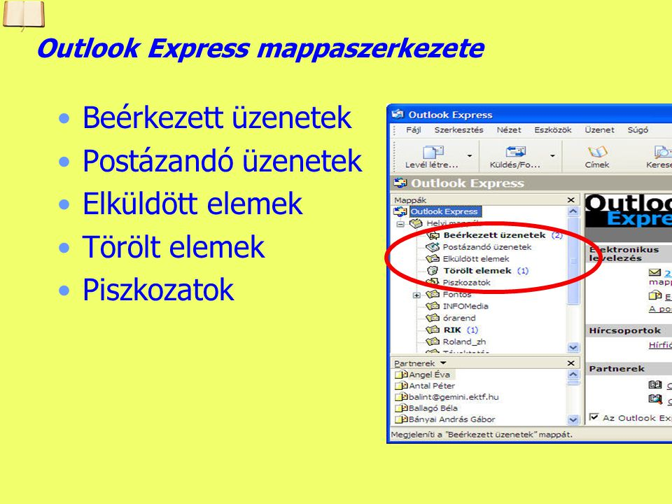 Outlook Express mappaszerkezete