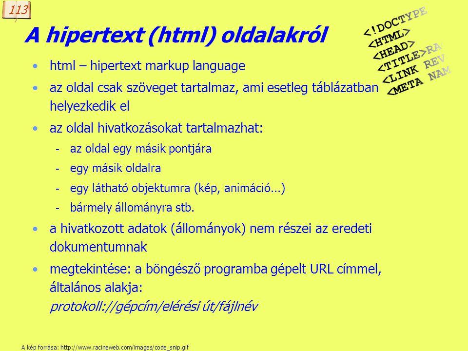 A hipertext (html) oldalakról