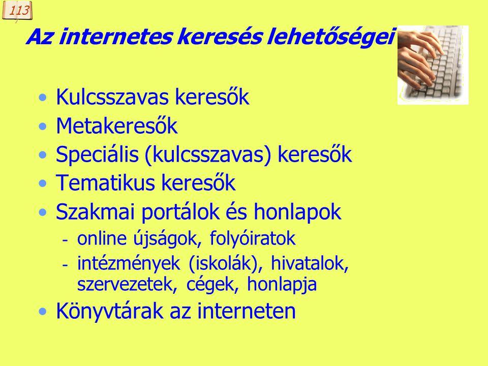 Az internetes keresés lehetőségei
