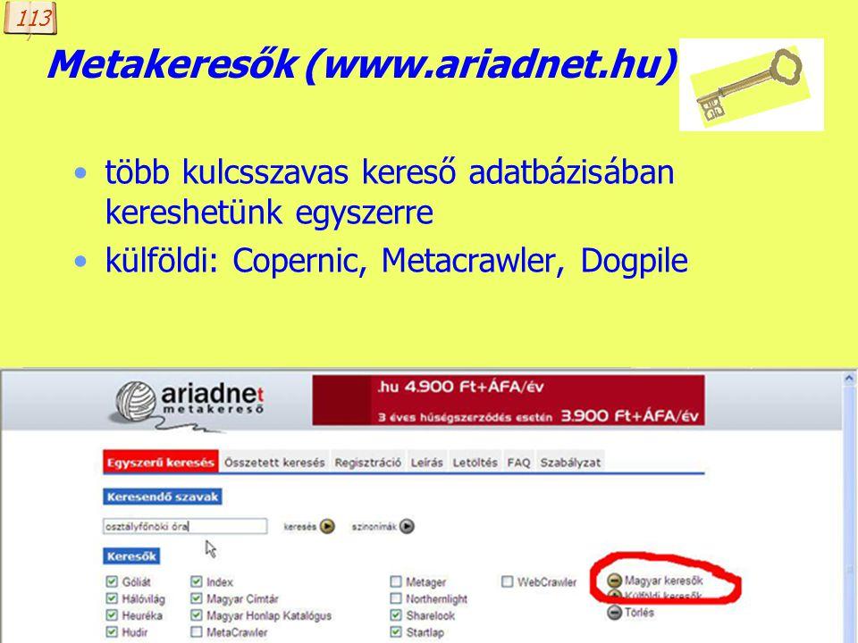 Metakeresők (www.ariadnet.hu)