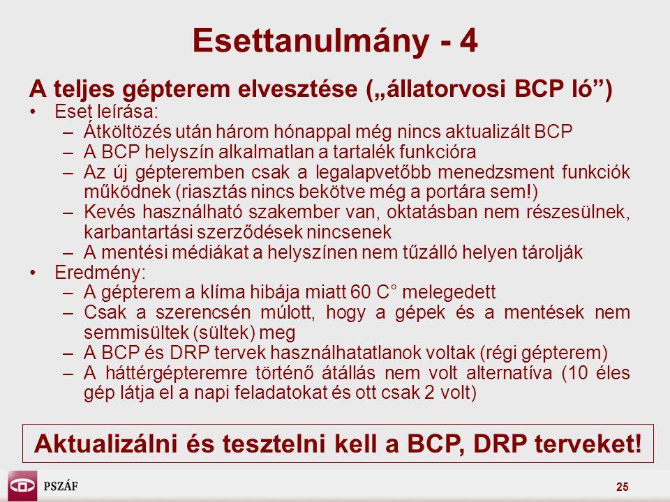 Aktualizálni és tesztelni kell a BCP, DRP terveket!