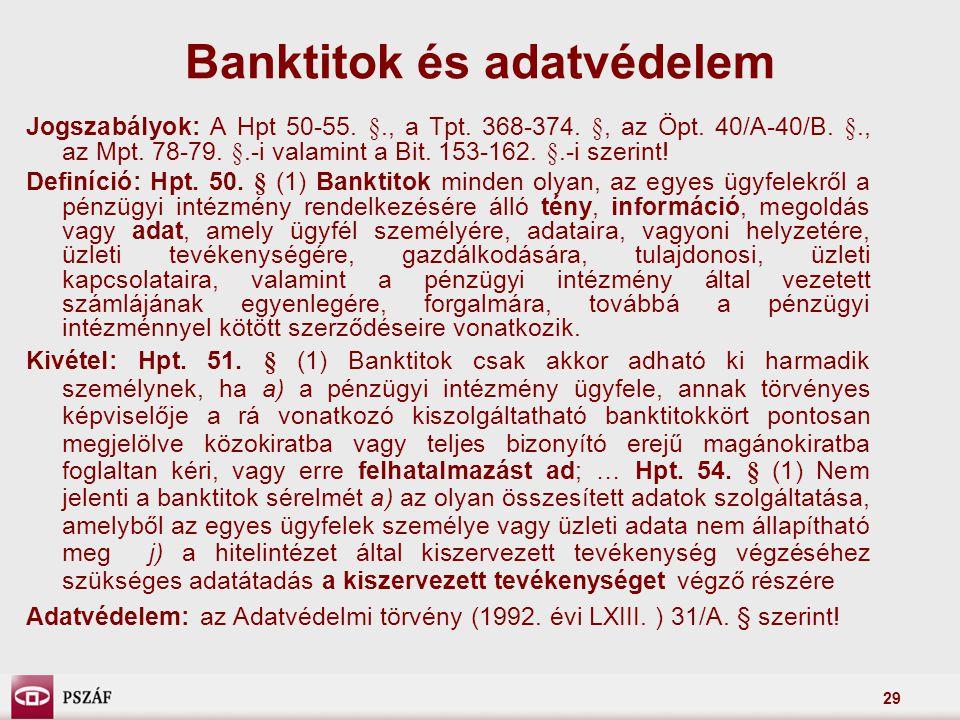 Banktitok és adatvédelem