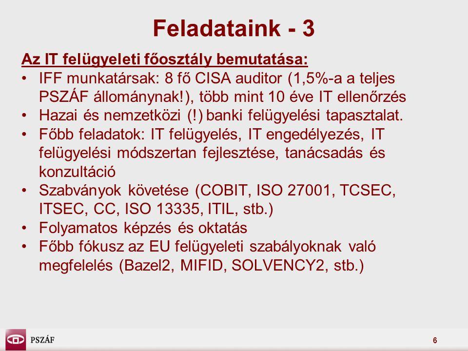 Feladataink - 3 Az IT felügyeleti főosztály bemutatása:
