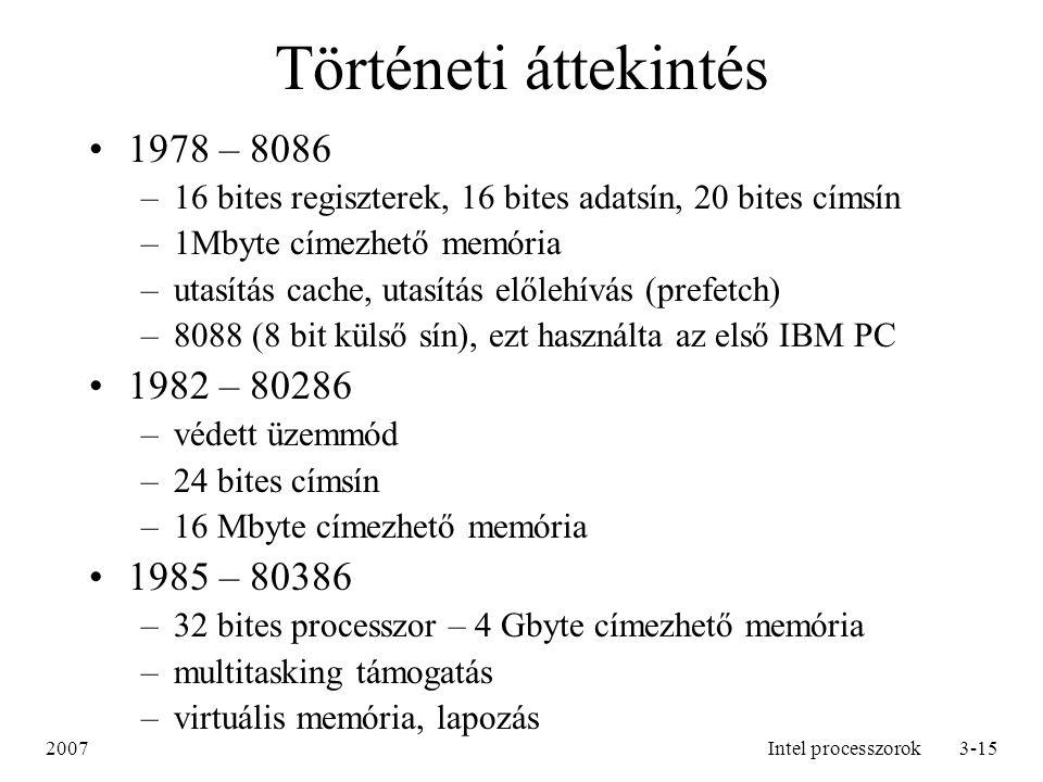 Történeti áttekintés 1978 – 8086 1982 – 80286 1985 – 80386