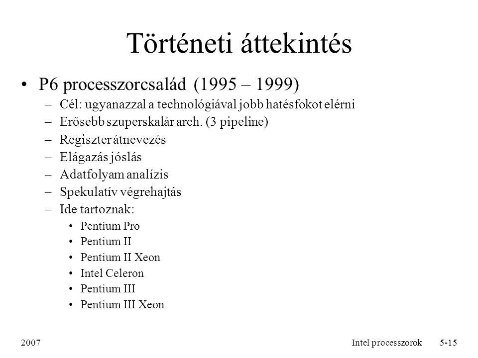 Történeti áttekintés P6 processzorcsalád (1995 – 1999)