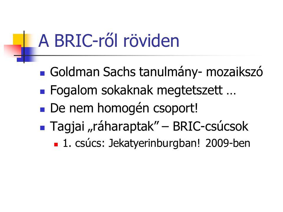 A BRIC-ről röviden Goldman Sachs tanulmány- mozaikszó