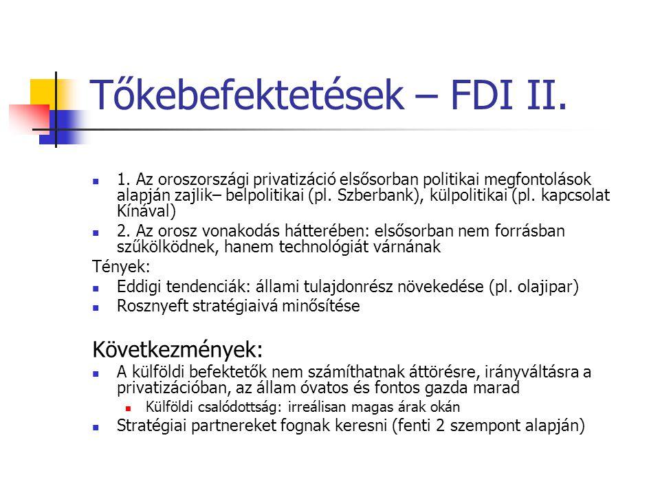Tőkebefektetések – FDI II.