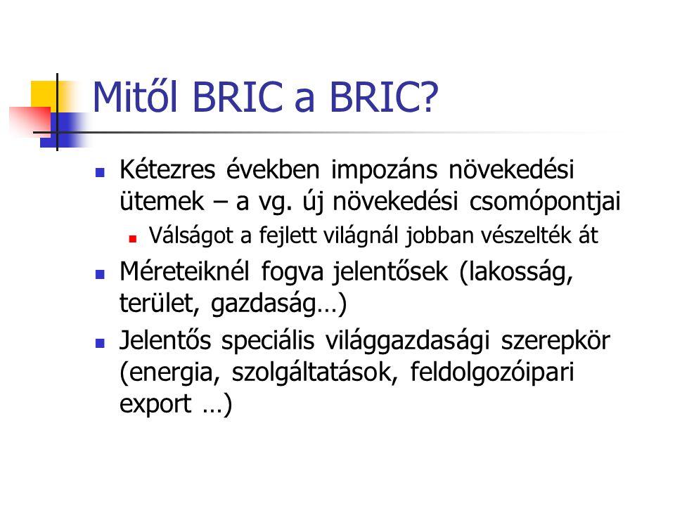 Mitől BRIC a BRIC Kétezres években impozáns növekedési ütemek – a vg. új növekedési csomópontjai. Válságot a fejlett világnál jobban vészelték át.