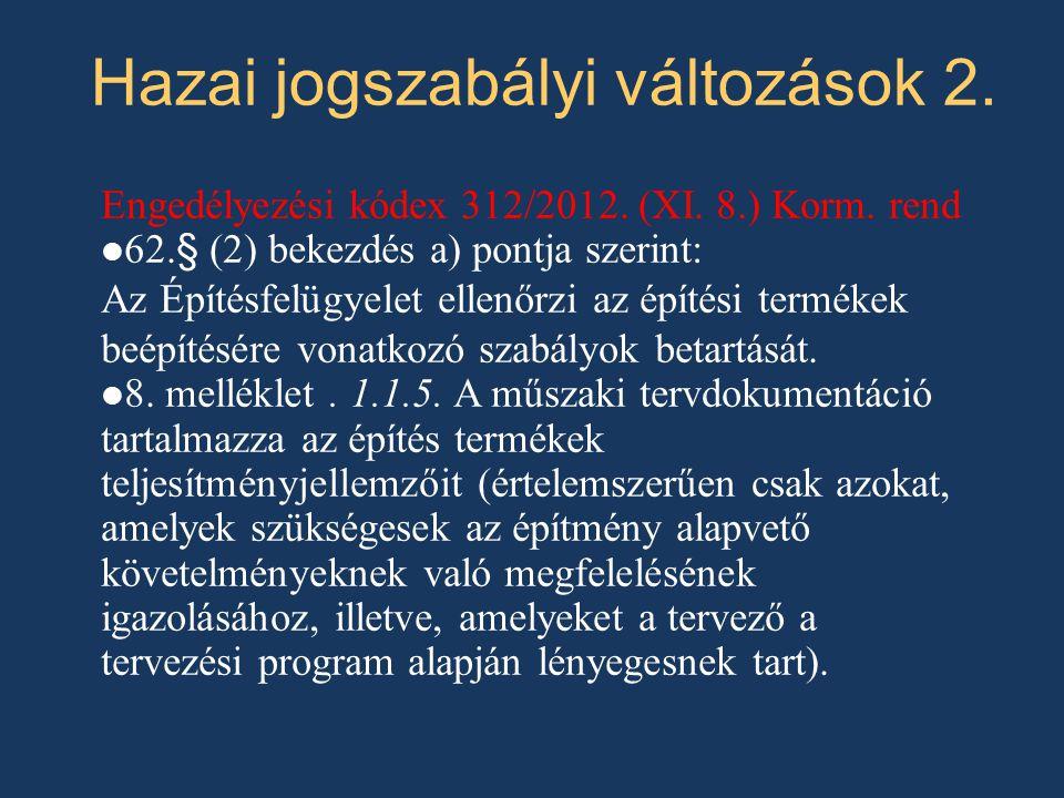 Hazai jogszabályi változások 2.