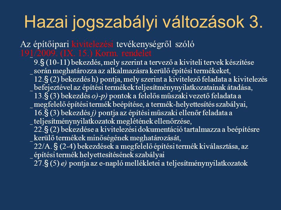 Hazai jogszabályi változások 3.