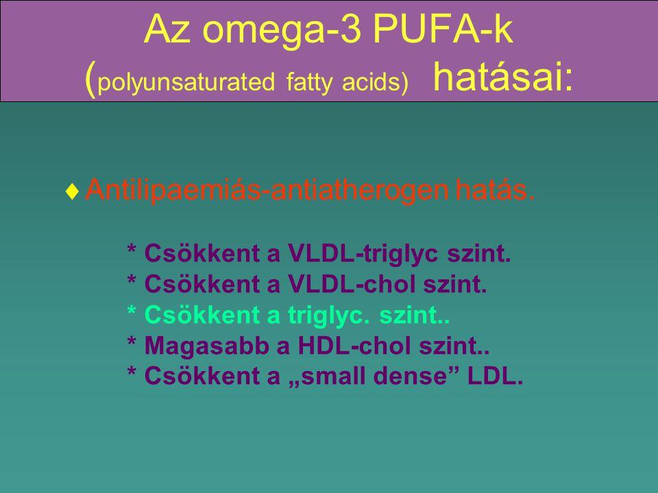 Az omega-3 PUFA-k (polyunsaturated fatty acids) hatásai: