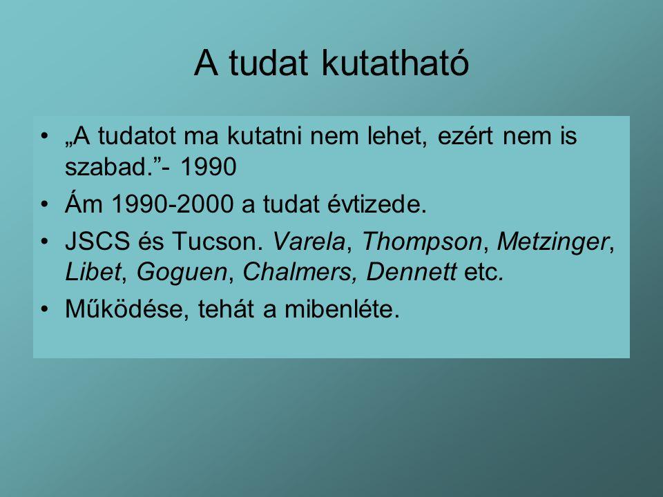 """A tudat kutatható """"A tudatot ma kutatni nem lehet, ezért nem is szabad. - 1990. Ám 1990-2000 a tudat évtizede."""