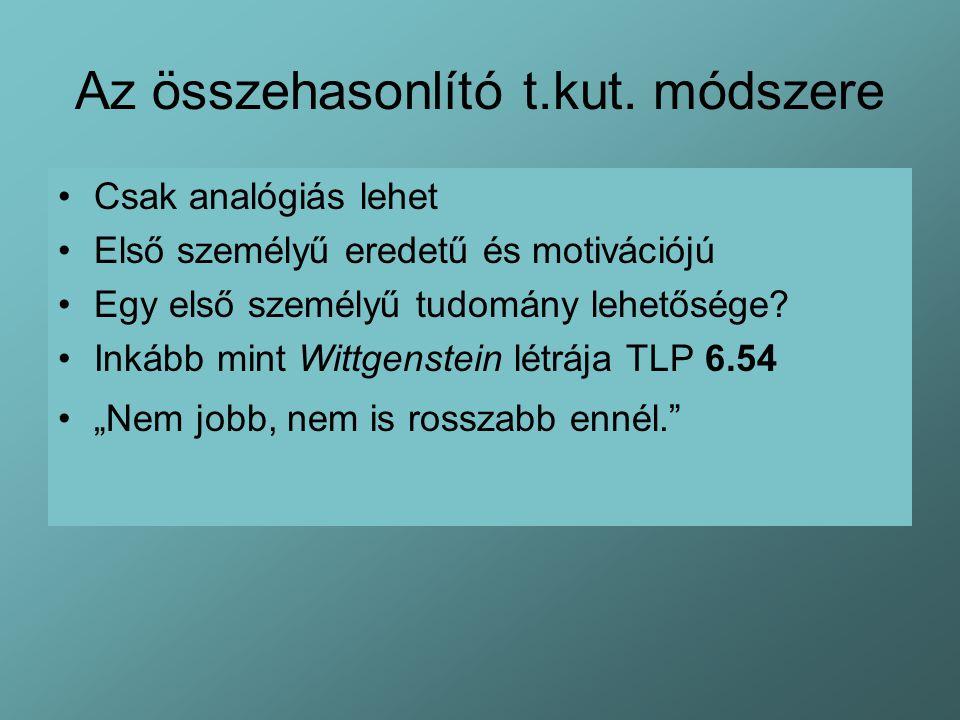 Az összehasonlító t.kut. módszere