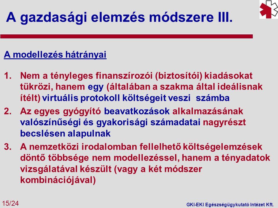 A gazdasági elemzés módszere III.