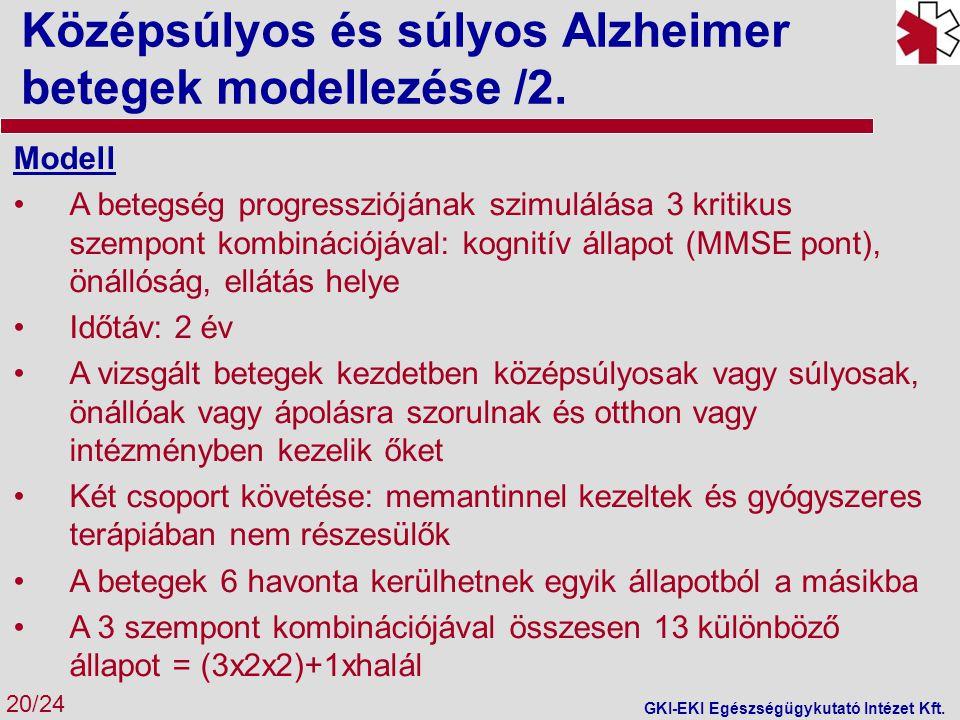 Középsúlyos és súlyos Alzheimer betegek modellezése /2.