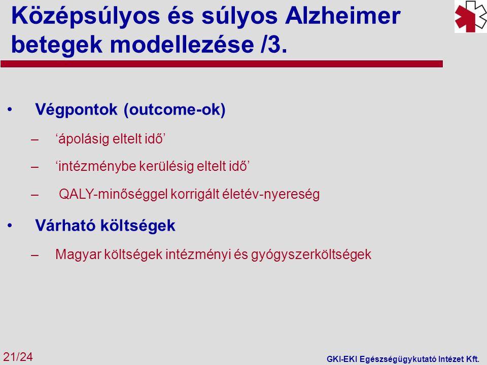 Középsúlyos és súlyos Alzheimer betegek modellezése /3.