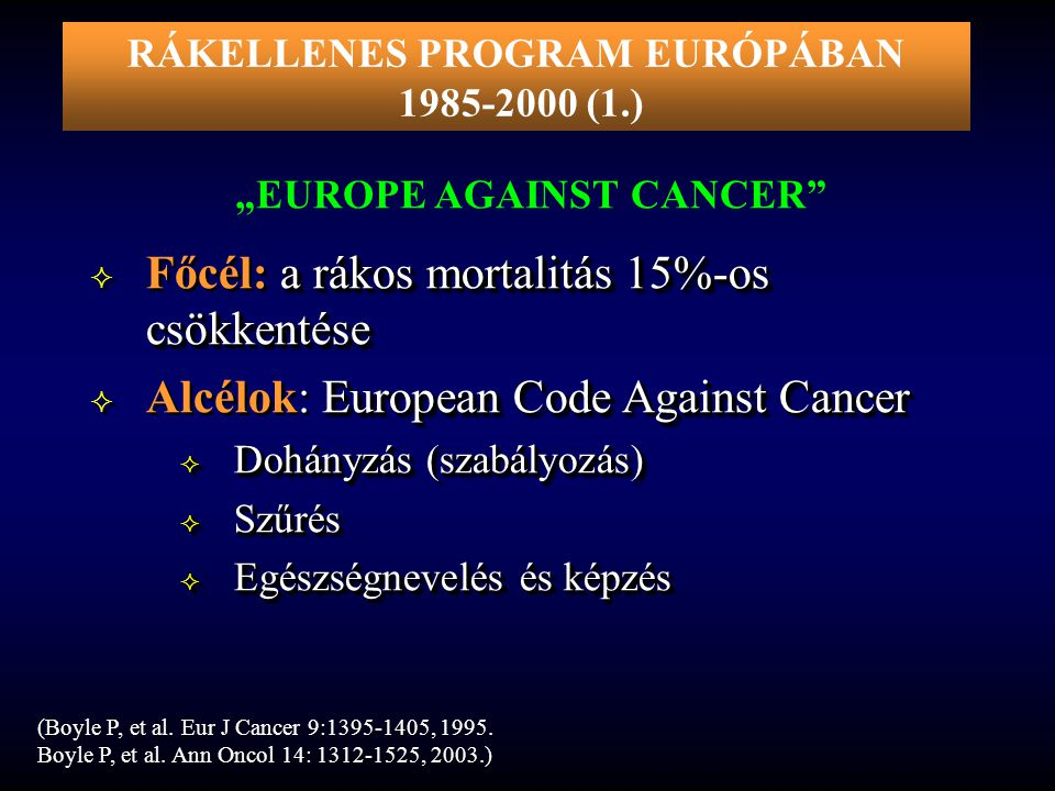 "RÁKELLENES PROGRAM EURÓPÁBAN ""EUROPE AGAINST CANCER"