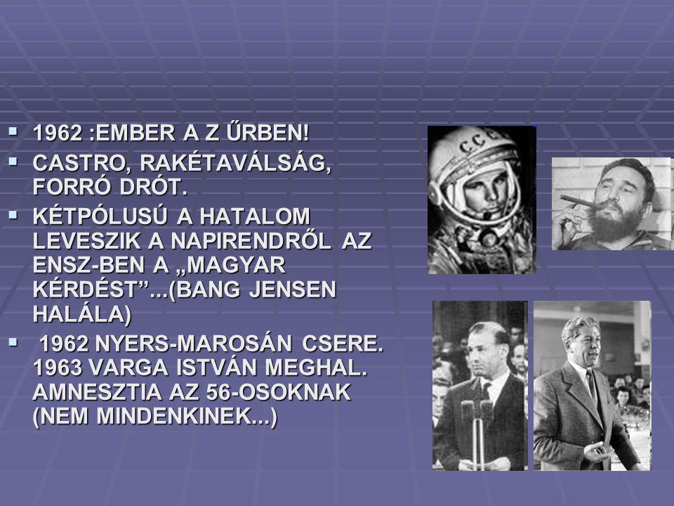 1962 :EMBER A Z ŰRBEN! CASTRO, RAKÉTAVÁLSÁG, FORRÓ DRÓT.