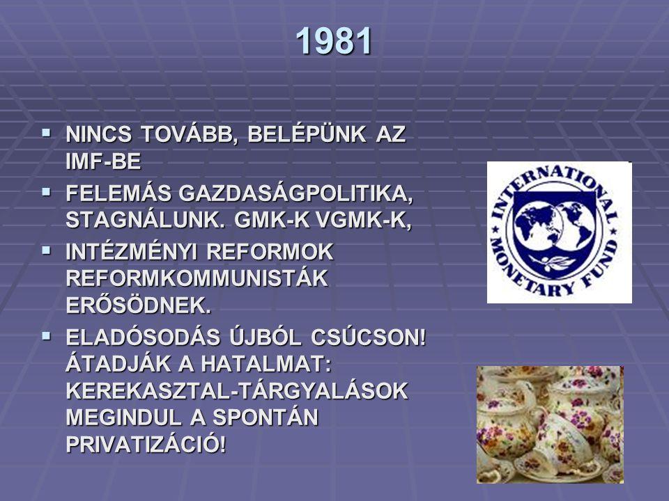 1981 NINCS TOVÁBB, BELÉPÜNK AZ IMF-BE