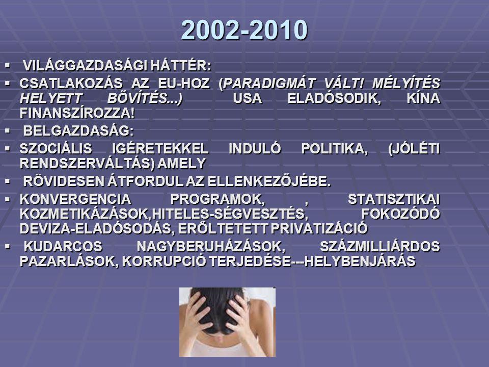2002-2010 VILÁGGAZDASÁGI HÁTTÉR: