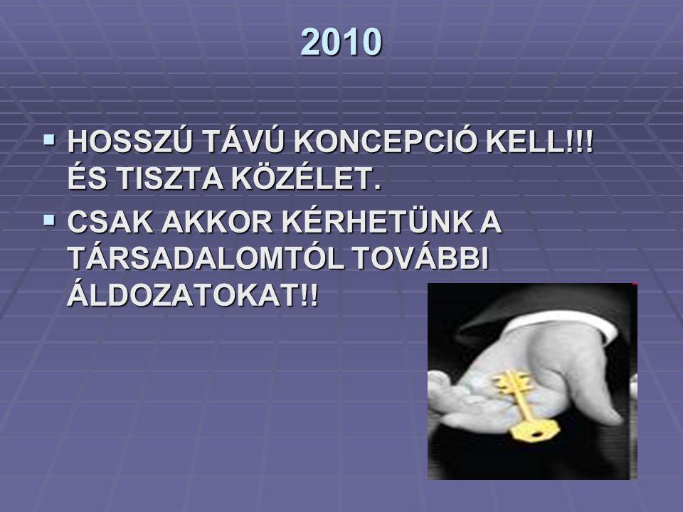2010 HOSSZÚ TÁVÚ KONCEPCIÓ KELL!!! ÉS TISZTA KÖZÉLET.