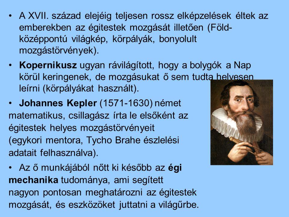 A XVII. század elejéig teljesen rossz elképzelések éltek az emberekben az égitestek mozgását illetően (Föld- középpontú világkép, körpályák, bonyolult mozgástörvények).
