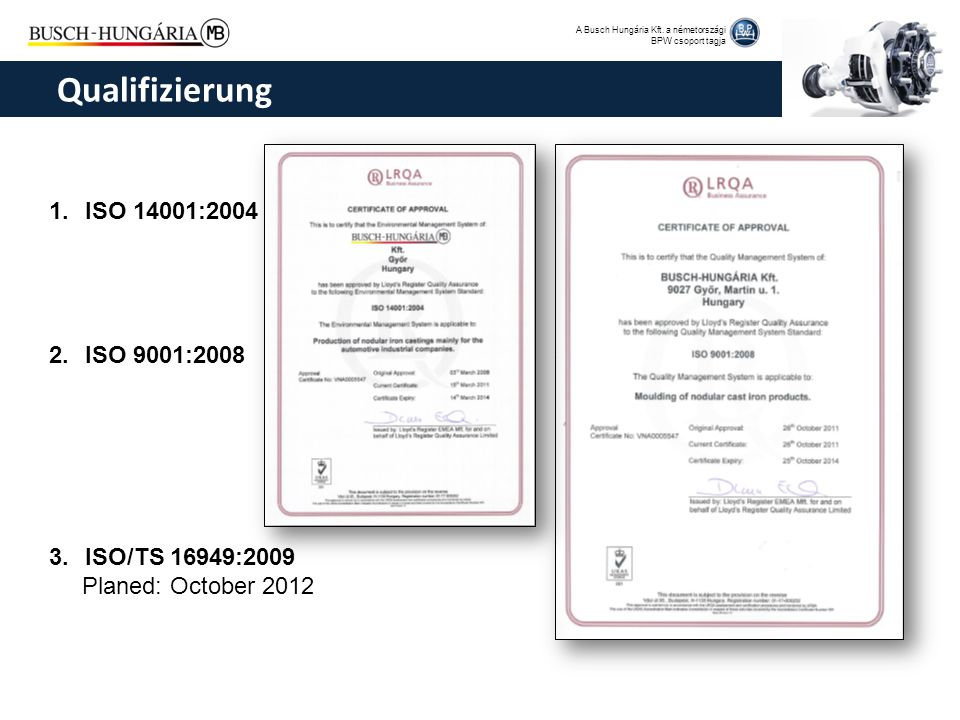 Qualifizierung ISO 14001:2004 ISO 9001:2008 ISO/TS 16949:2009