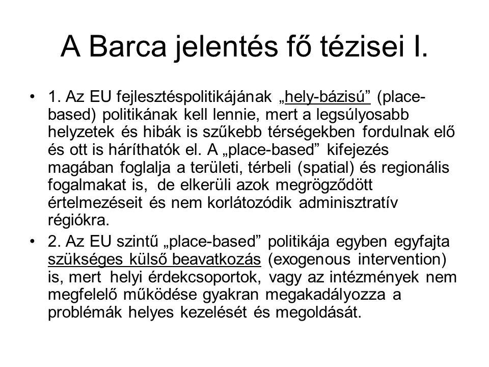 A Barca jelentés fő tézisei I.