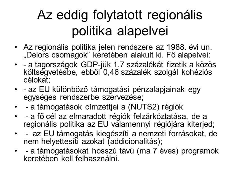 Az eddig folytatott regionális politika alapelvei