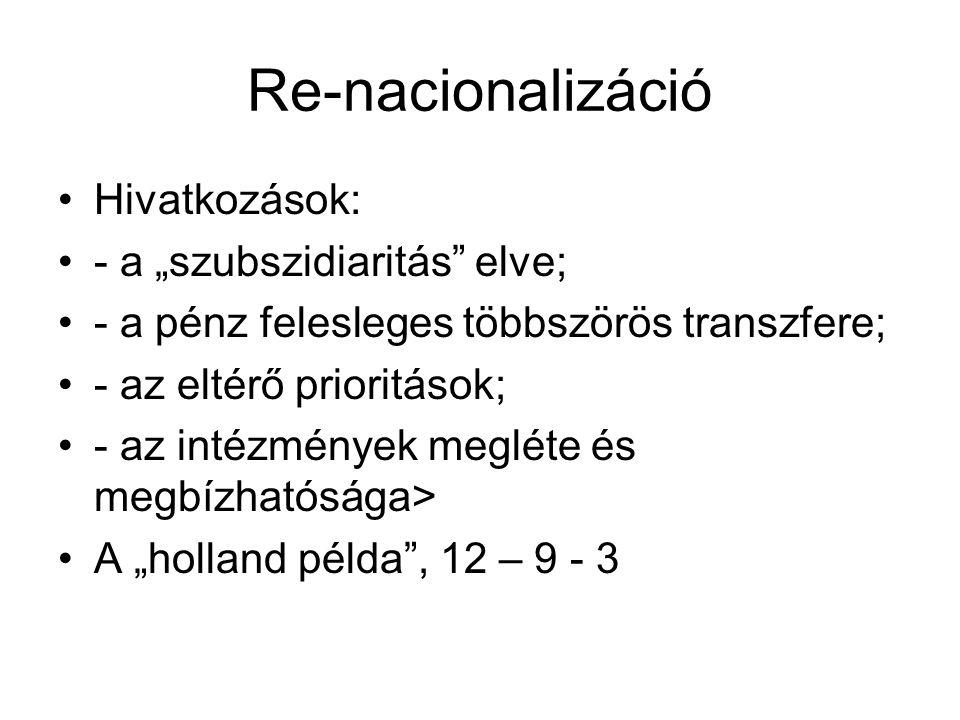 """Re-nacionalizáció Hivatkozások: - a """"szubszidiaritás elve;"""