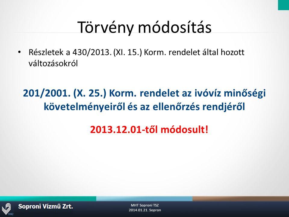 Törvény módosítás Részletek a 430/2013. (XI. 15.) Korm. rendelet által hozott változásokról.