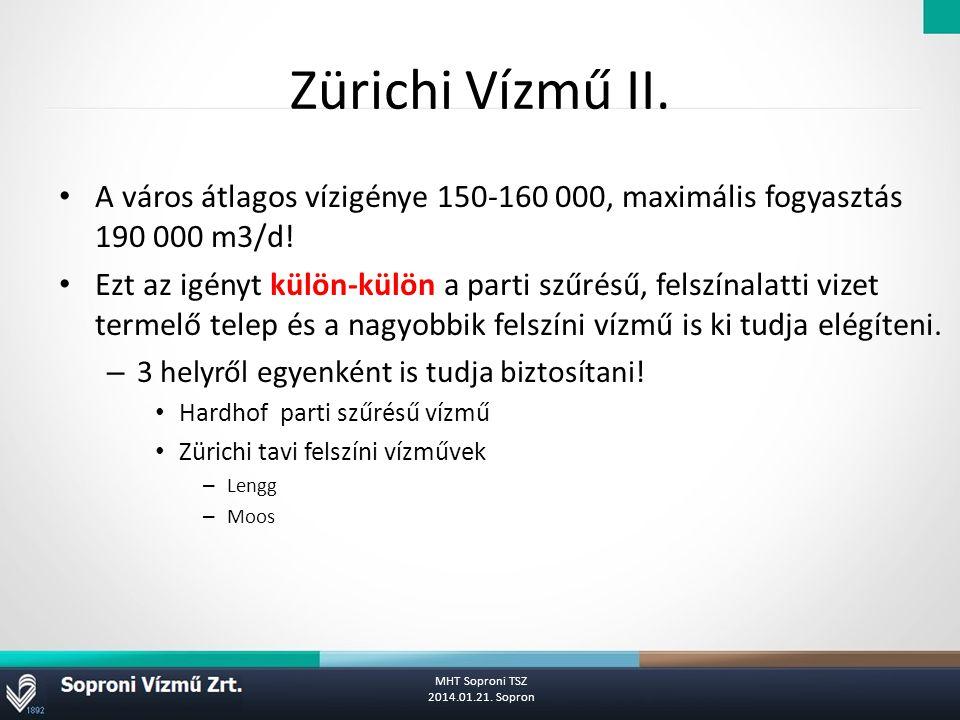Zürichi Vízmű II. A város átlagos vízigénye 150-160 000, maximális fogyasztás 190 000 m3/d!