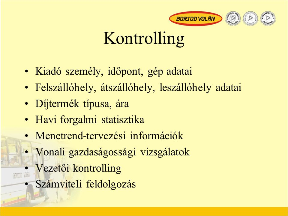 Kontrolling Kiadó személy, időpont, gép adatai