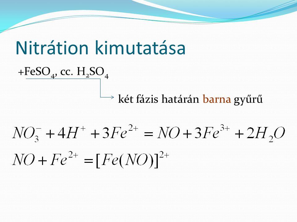 Nitrátion kimutatása +FeSO4, cc. H2SO4 két fázis határán barna gyűrű