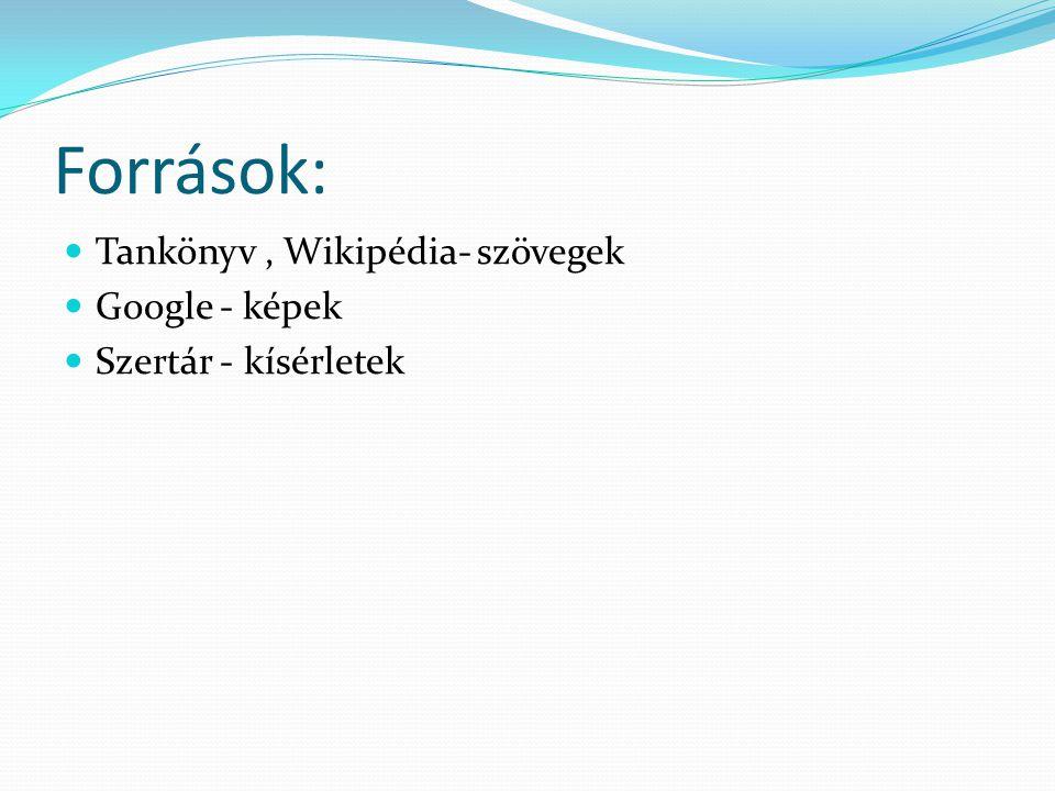 Források: Tankönyv , Wikipédia- szövegek Google - képek
