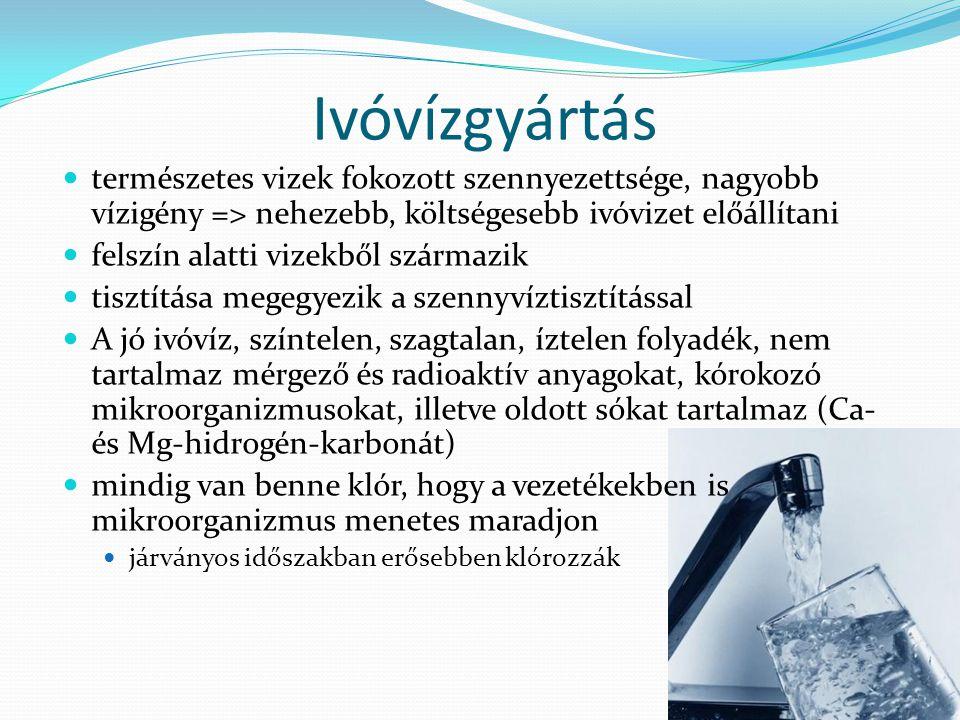 Ivóvízgyártás természetes vizek fokozott szennyezettsége, nagyobb vízigény => nehezebb, költségesebb ivóvizet előállítani.