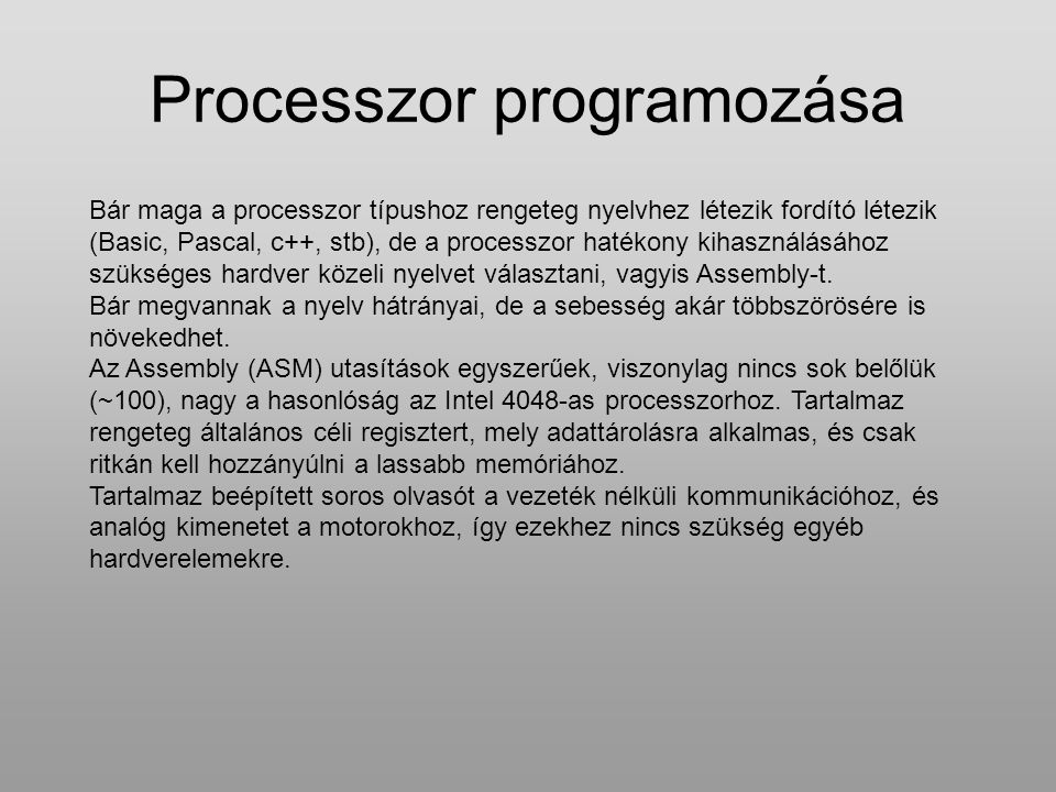Processzor programozása