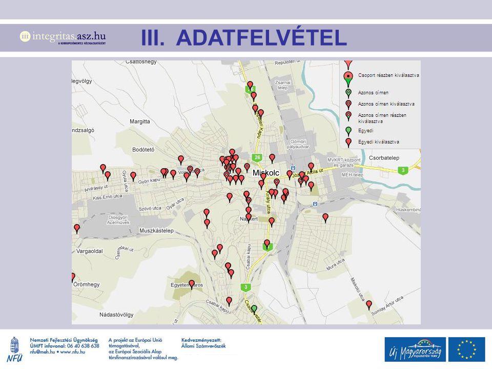 III. ADATFELVÉTEL