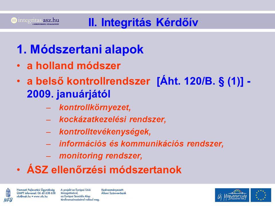 1. Módszertani alapok II. Integritás Kérdőív a holland módszer