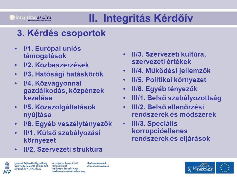 II. Integritás Kérdőív 3. Kérdés csoportok