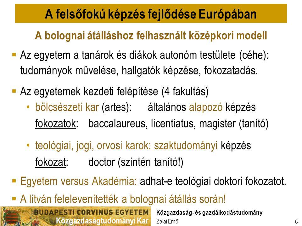 A felsőfokú képzés fejlődése Európában