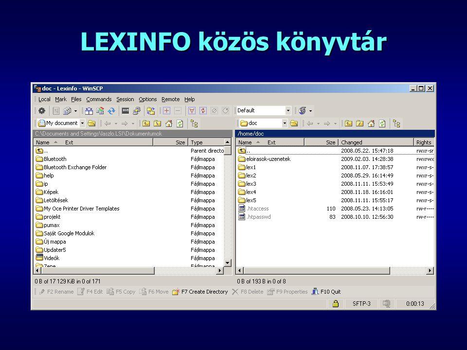 LEXINFO közös könyvtár